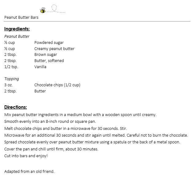 Peanut Butter Bars recipe