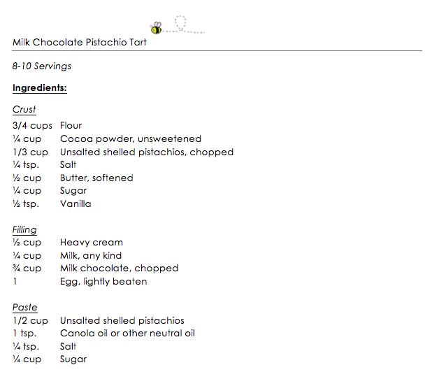 Milk Chocolate Pistachio Tart snippet 1