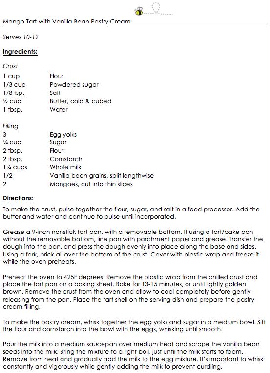 Mango Tart with Vanilla Bean Pastry Cream snippet 1