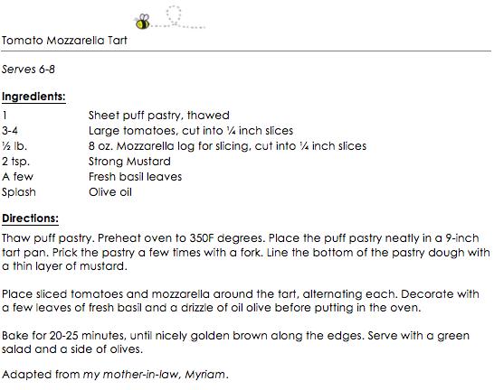 Tomato Mozzarella Tart snippet