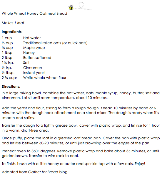 Whole Wheat Honey Oatmeal Bread snippet