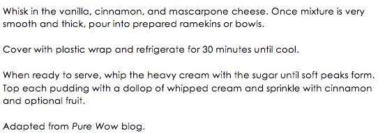 Cinnamon Mascarpone Pudding snippet 2