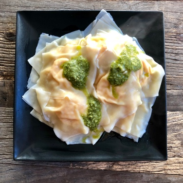 Butternut Squash Wontons with Pesto