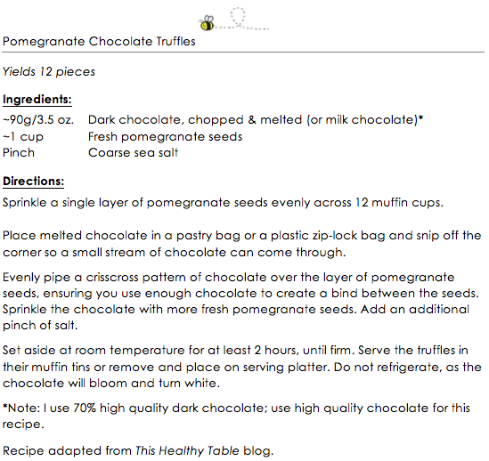 Pomegranate Chocolate Truffles snippet