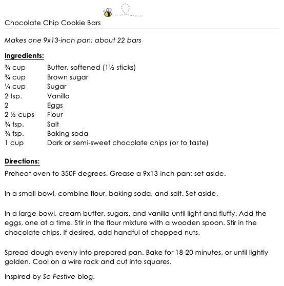 Chocolate Chip Cookies Bars snippet