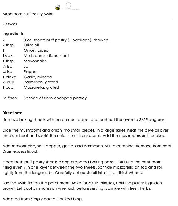 Mushrrom Puff Pastry Swirls snippet
