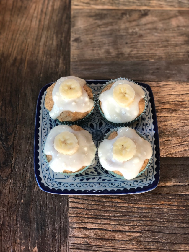 Whole Wheat Banana Muffins with Cream Cheese Frosting