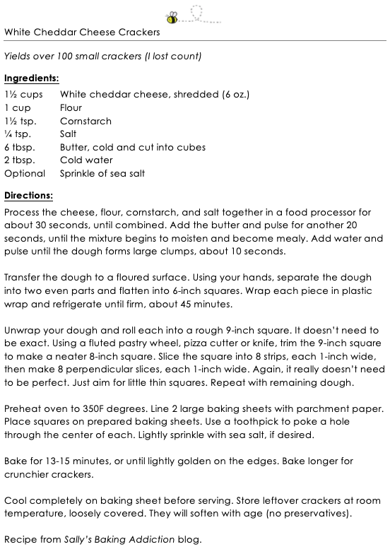 White Cheddar Cheese Crackers snippet update