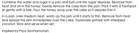Indian Honey Cake snippet 2